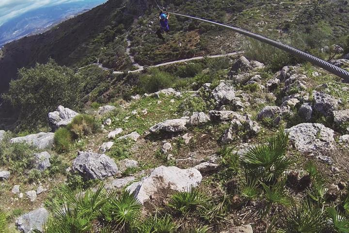 Riding the longest zipline in Spain