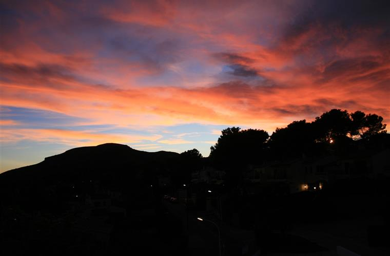 Sunset over Mont Pla, from the front terrace