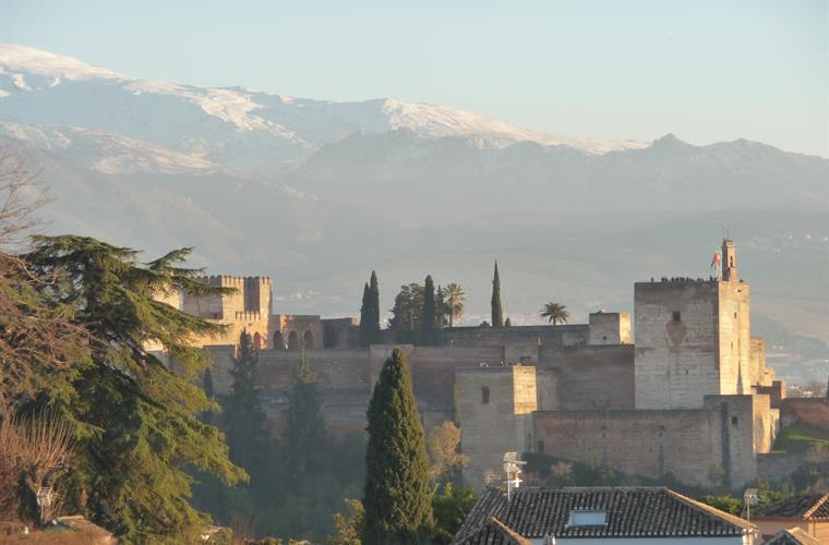 Alhambra and snowy mountains