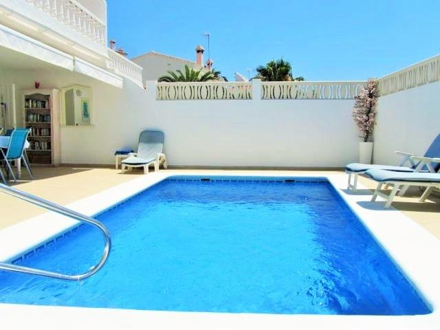Private pool 8 x 4 m.  shallow entrance by steps, deep end 1.95m