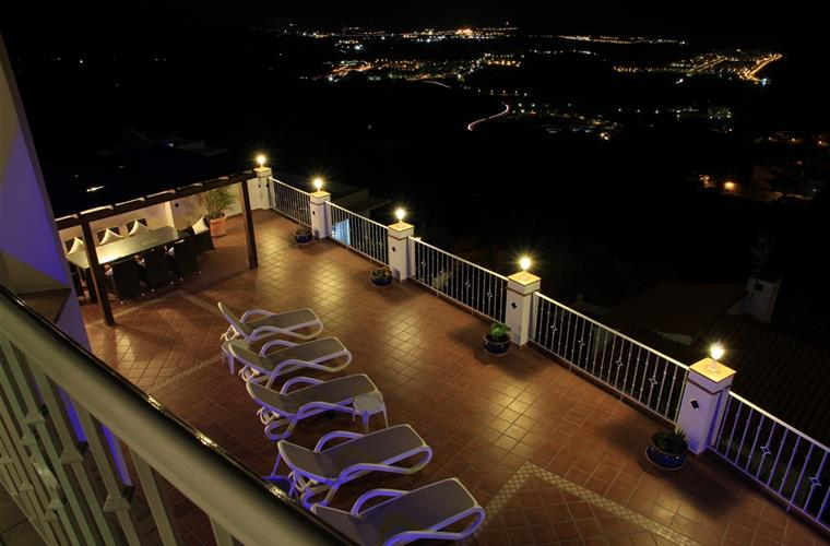 Main terrace at night.