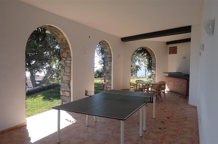 porch with bar and table tennis