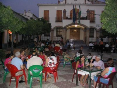Lively village square at night- 10 minutes walk from the villa