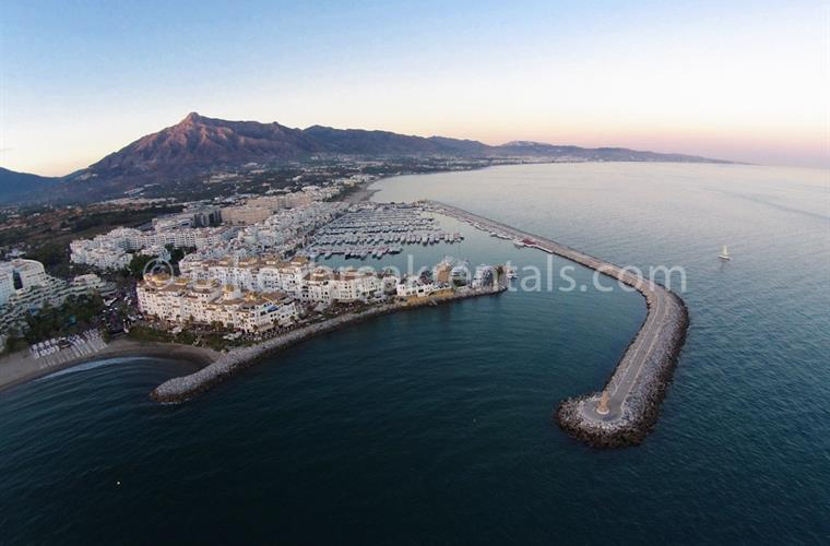 Ariel view of Puerto Banus harbour by apartment