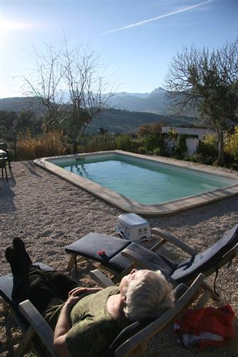 the private pool with views towards the mountain, in december.