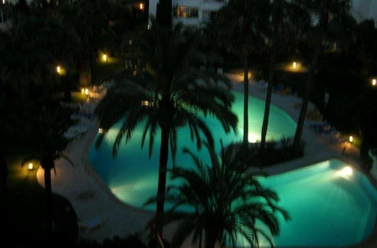 Pool at night from balcony