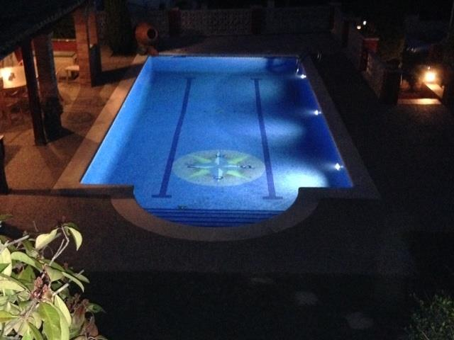 View of the pool by night