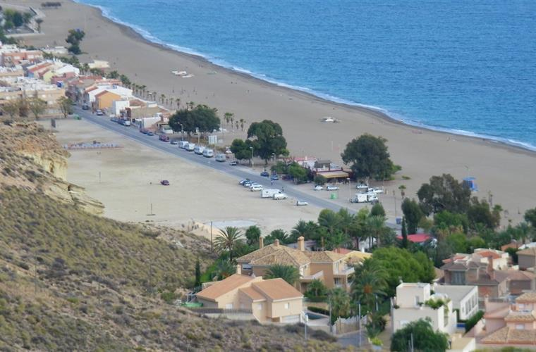 View of Bolnuevo beach from part way up the mountain