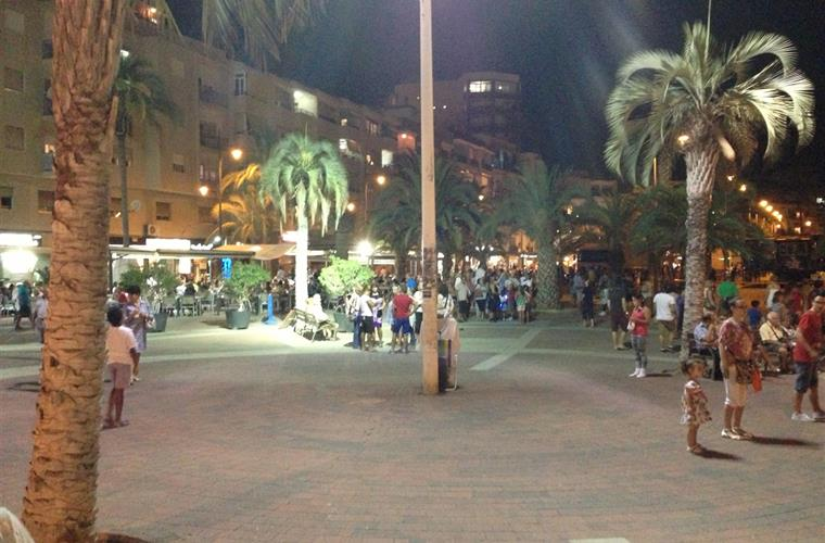 Evening view of the beach front at Mazarron, lots of entertainment