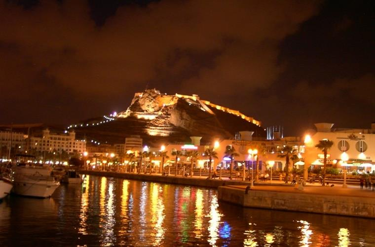 Alicante Castle & Marina at night