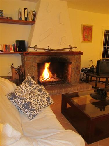 Sala de estar con chiminea