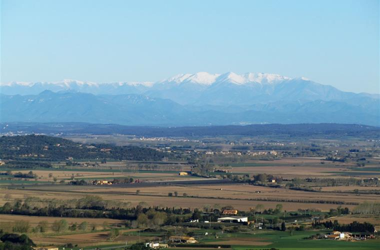 view to the snowy Pyrenees from terrace