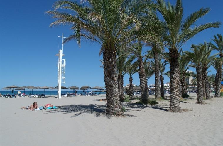 Javea's Arenal beach, palms and lifeguard station
