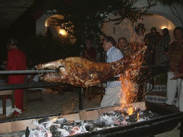 The bbq/spit roast takes a whole lamb - but advance orders only