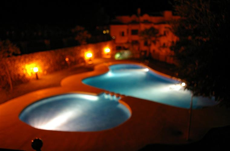 Our floodlit pool, view from bedroom 3 and our garden