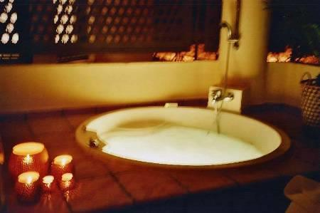 Luxuriate under the stars in your hot bath for 4 +shower