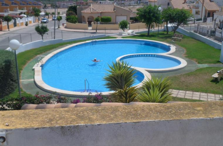 The view of the pool from the roof terrace