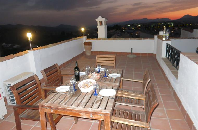 The roof terrace, night. A wonderful view of the Malaga Mountains