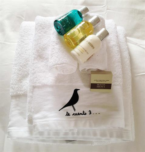 Set of towels and amenities