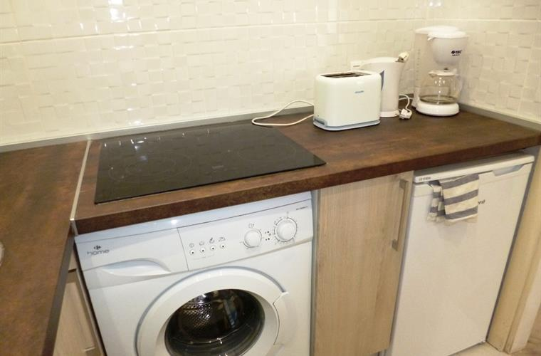 Kitchen with washing machine and fridge
