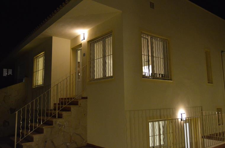 frontview house by night