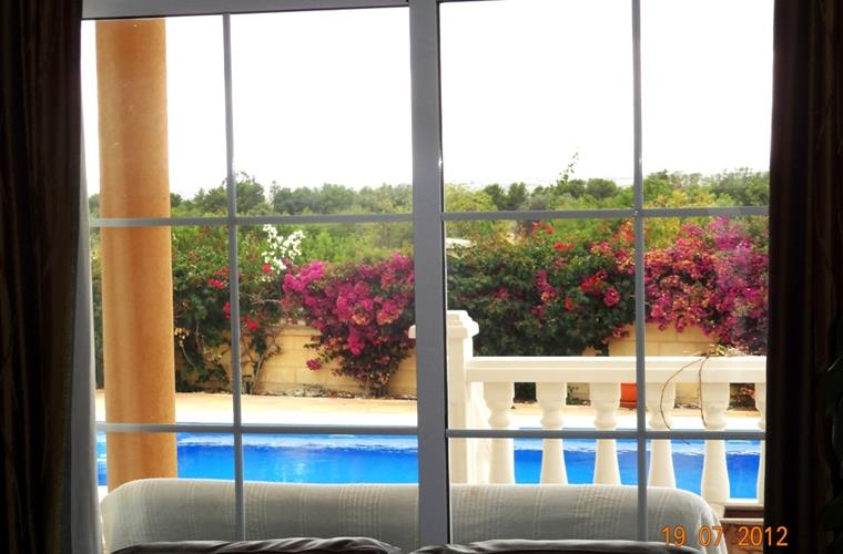Views of the swimming pool from the living area