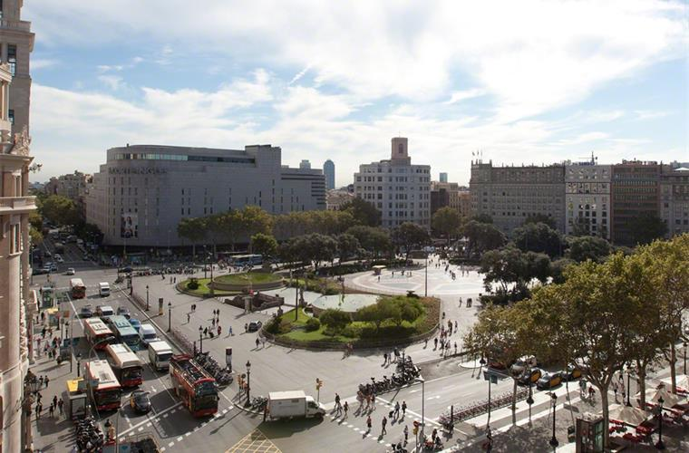 Views from the suite over Plaça Catalunya