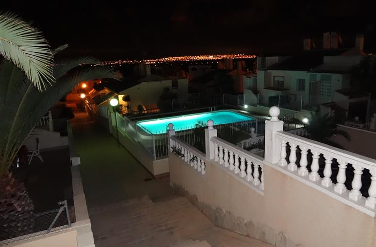 View on the swimming pool by evening