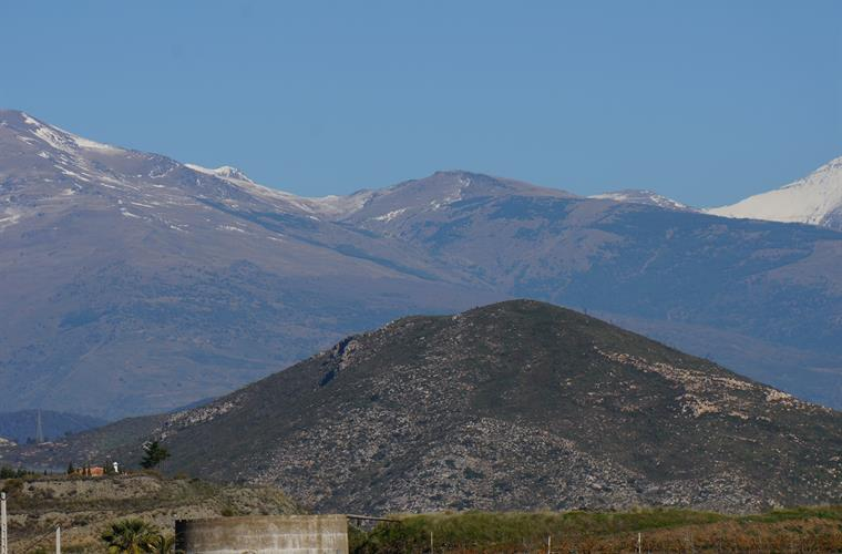 Looking towards the snowy peaks of the Sierra Nevada