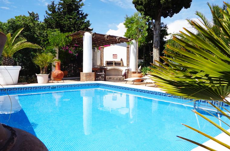 private and secluded pool area with fantastic double bbq