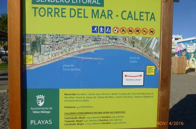 a map of the seafront from Caleta to Torre del Mar