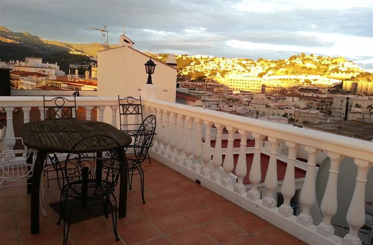 Roof terrace in sunset