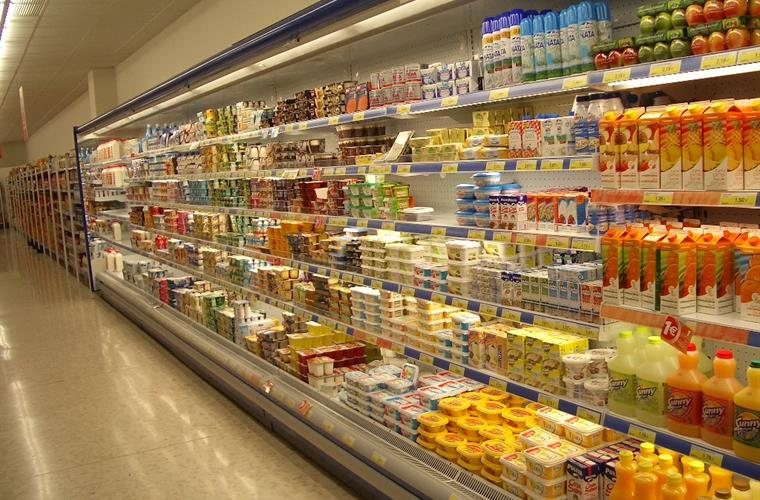 Well stocked clean supermarkets close by