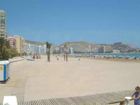 the beach directly opposite the apartment block