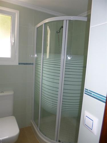 Brand new bathroom with large shower cubicle