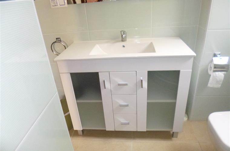 Vanity unit with washbasin & lots of storage in new bathroom