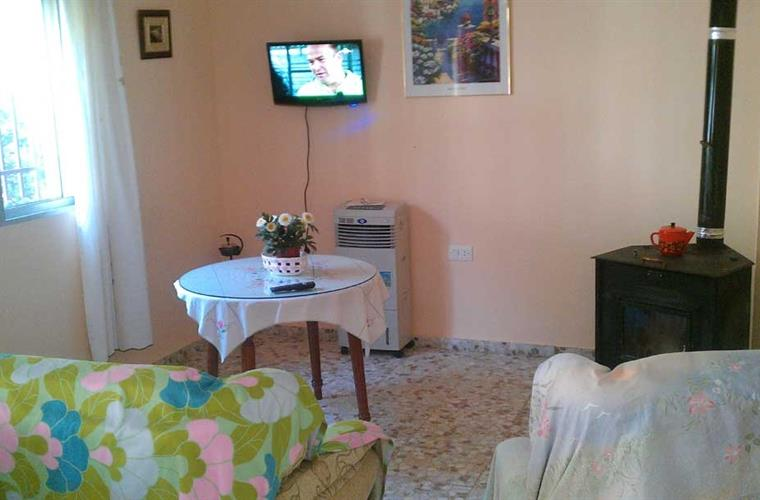 Lounge area with log burner, portable a/c and televsion (Spanish)