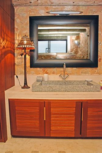 main bathroom with jacuzzi bath and walk-in shower stone made
