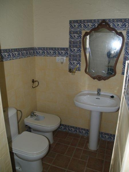Bathroom Andalusian style. Renovated new shower with glass door.