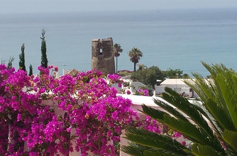 View from the balcony of Villa del Sol: 'el torre de Torremuelle'.