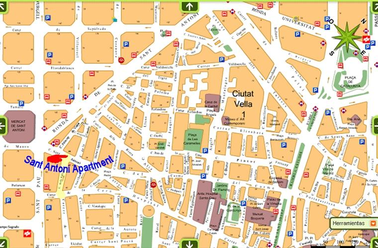 Sant Antoni Apartment Area Map 5 min Walking to Ramblas