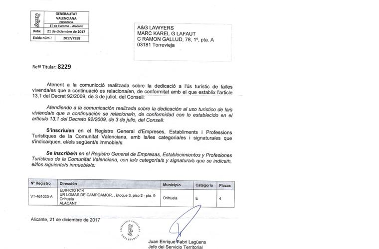 license a approval by turismo  Valencia