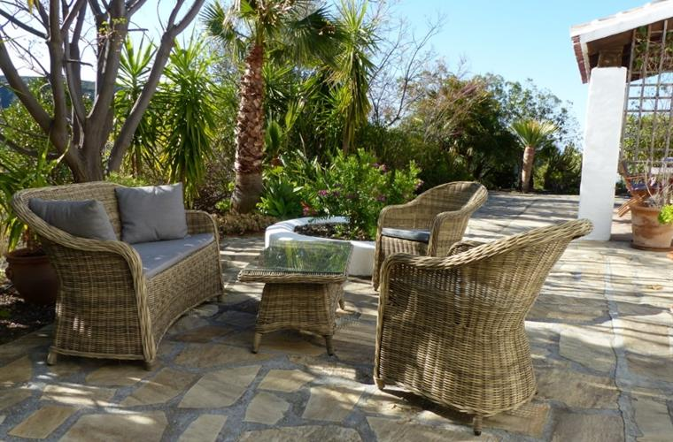 The outdoor lounge is one of the spots to relax in the shade.