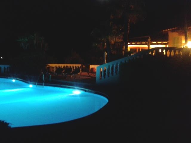 pool and terases by night