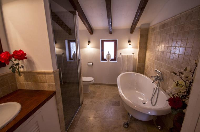 Bath en-suite with shower and bathtub