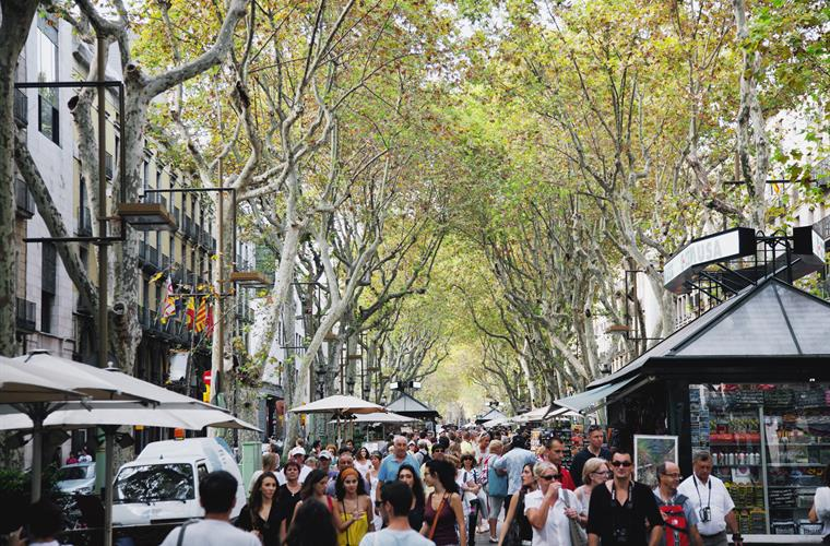 Las Ramblas, just 50 meters away from Enjoybcn Plaza Catalunya