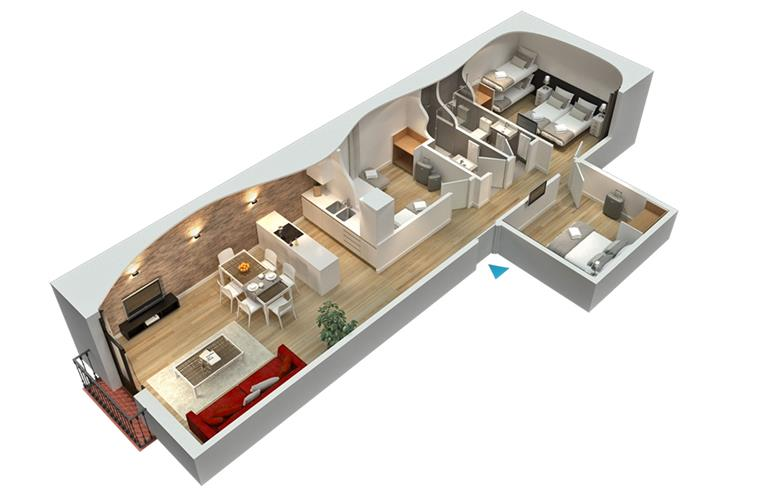 3D plan of the apartment