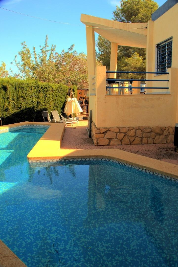 Swimming pool with upper terrace and entry to living room