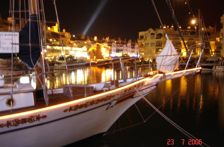 Puerto Marina by night.