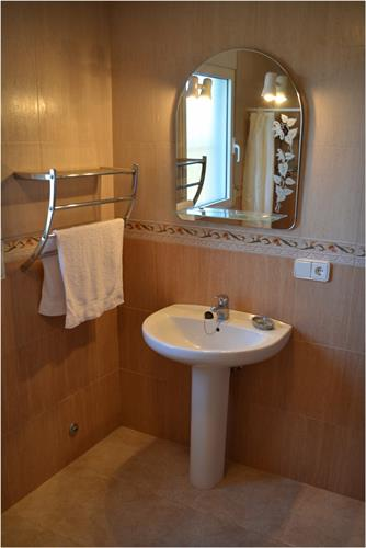 En suite bathroom downstairs:  shower, toilet and sink.